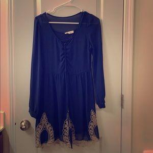 Blue long sleeve dress